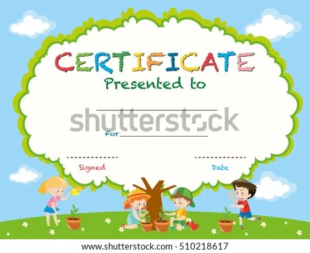 Certificate Template Kids Planting Trees Illustration Stock Vector - certificate template for kids