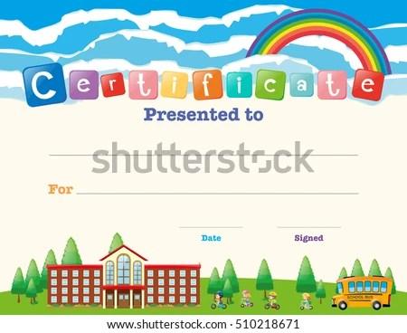 Certificate Template Kids School Illustration Stock Vector 510218671 - certificate template for kids