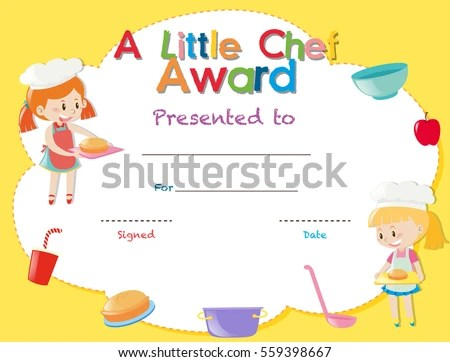 Certificate Template Kids Cooking Illustration Stock Vector - certificate template for kids