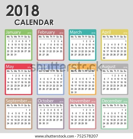 2018 Year Calendar Week Starts On Stock Vector (Royalty Free