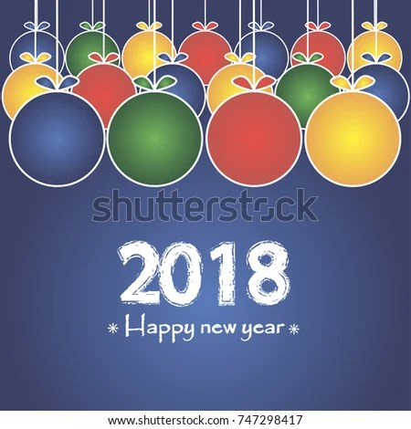 2018 Happy New Year Banner Christmas Stock Vector 747298417