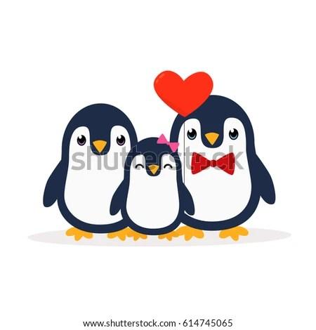 Wallpaper Girl Boy Holding Hands Love Penguin Dating Snow Design Element Stock Vector