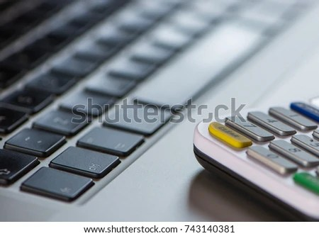 View Computer Keyboard Card Reader Used Stock Photo (Royalty Free