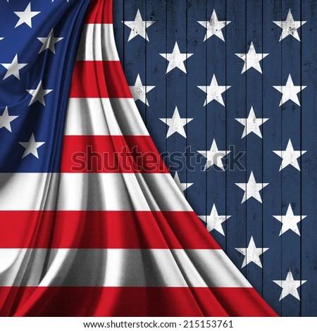 America Flag Fabric Stars Wood Background Stock Illustration