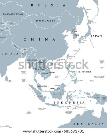 East Asia Political Map Countries Borders Stock Photo (Photo, Vector