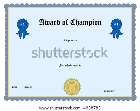 Blank Award Certificate Form Stock Illustration 4958785 - Shutterstock