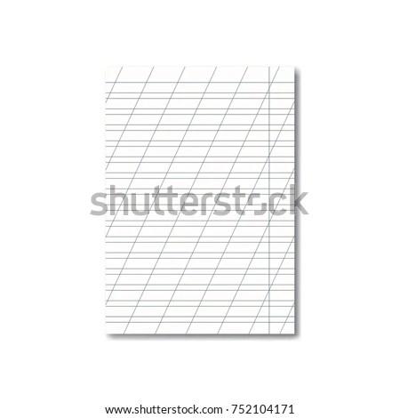 Vector Opened Realistic School Cursive Writing Stock Photo (Photo - blank writing sheet