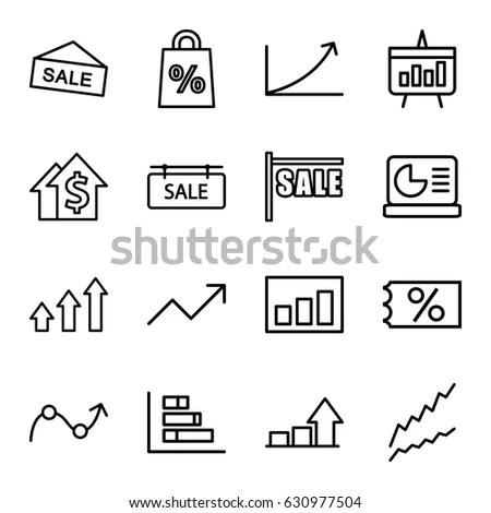 Sales Icons Set Set 16 Sales Stock Vector 630977504 - Shutterstock - Sale Chart