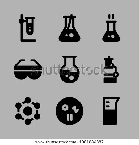 Icons Chemistry Safety Glasses Hot Flask Stock Vector 1081886387 - chemistry safety