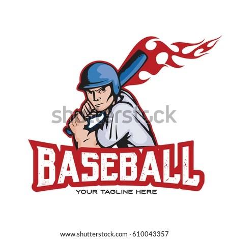 Fire Baseball Logo Design Stock Vector (Royalty Free) 610043357