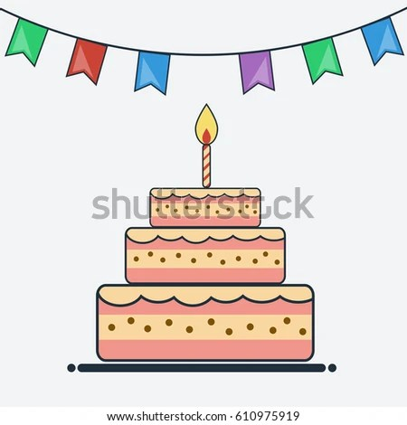 Birthday Cake Bunting Flags Flat Design Stock Vector 585215959 - birthday cake card template