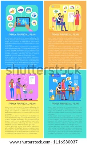 Family Financial Posters Set Mother Father Stock Vector 1116580037 - budget plans for families