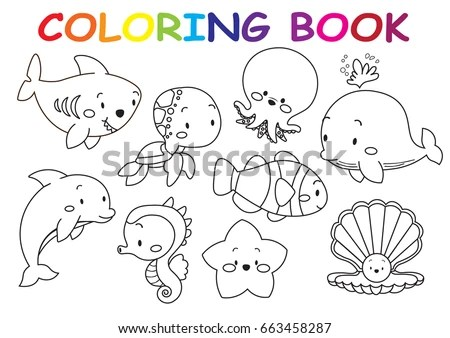 Kids Coloring Page Collection Cute Sea Stock Vector