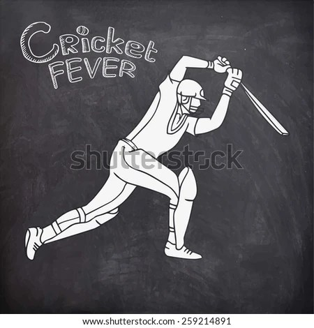 Young Batsman Playing Action On Chalkboard Stock Vector (Royalty