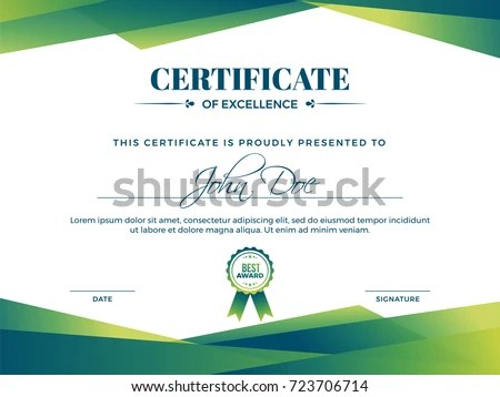 Certificate Appreciation Award Template Green Shapes Stock Vector - certificate of appreciation