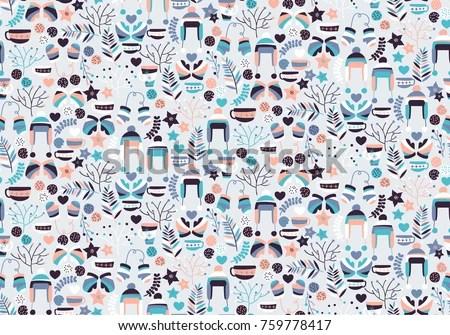 Cute Wallpaper Phone Case Winter Christmas Hygge Seamless Pattern Xmas Stock Vector