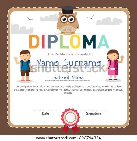 Colorful Children Diploma Template Certificate Preschool Stock