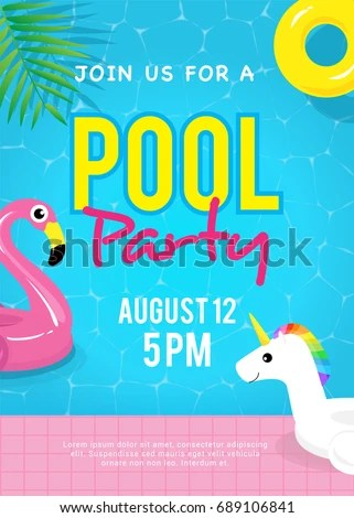Pool Party Invitation Vector Illustration Swimming Stock Photo