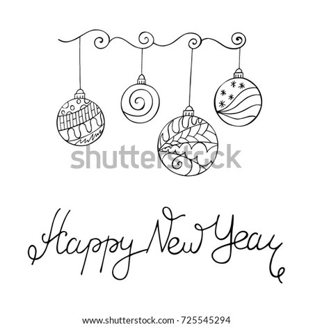 Merry Christmas Card Zentangle Style Word Stock Vector 725545294 - christmas card word