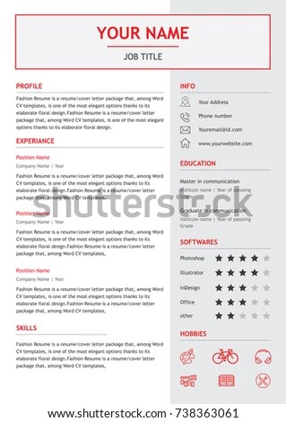 Job Resume CV Layout Template Letter Stock Photo (Photo, Vector