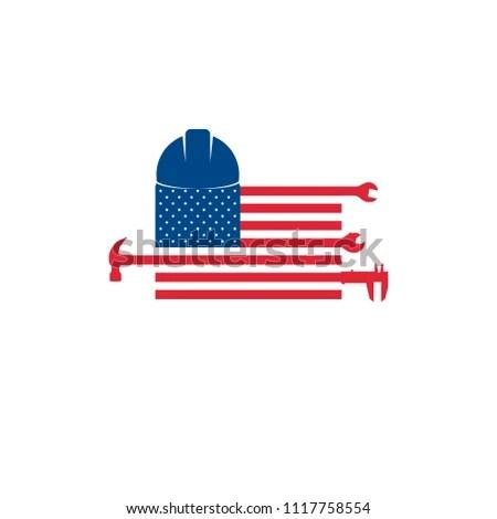 US Flag Tools Hammer Wrench Caliper Stock Vector 1117758554