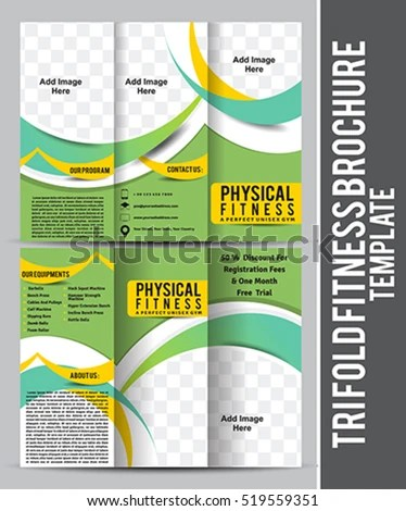 Tri Fold Fitness Brochure Template Design Stock Vector (Royalty Free - Fitness Brochure Template