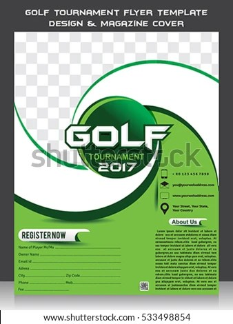 Golf Tournament Flyer Template Design Magazine Stock Photo (Photo - golf tournament flyer template