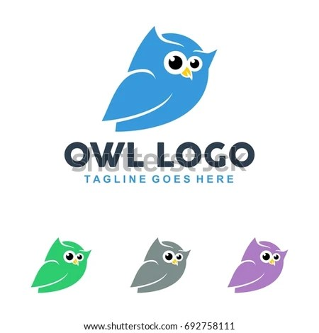 Unique Owl Logo Minimalist Shapes Colors Stock Vector 692758111