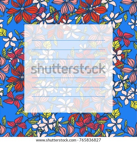 Card Design Cute Floral Vector Card Stock Vector 765836827 - visual to do list