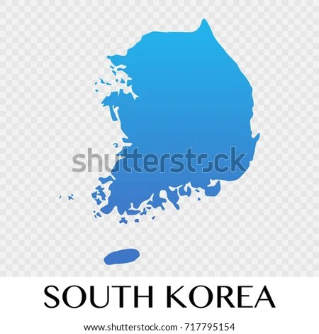 South Korea Map Asia Continent Illustration Stock Vector (Royalty