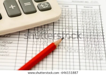 Handwritten Accounting Ledger Showing Bookkeeping Using Stock Photo