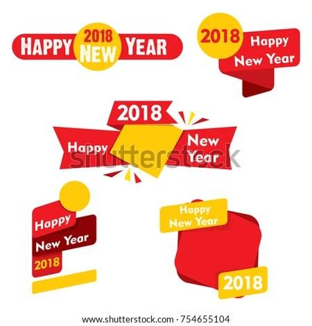 Creative Label Sticker New Year Calendar Stock Vector 754655104 - label