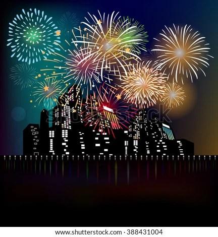 Happy New Year Fireworks 2017 Holiday Stock Photo (Photo, Vector