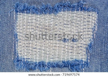 Destroyed Torn Denim Frame White Stitching Stock Photo (Edit Now