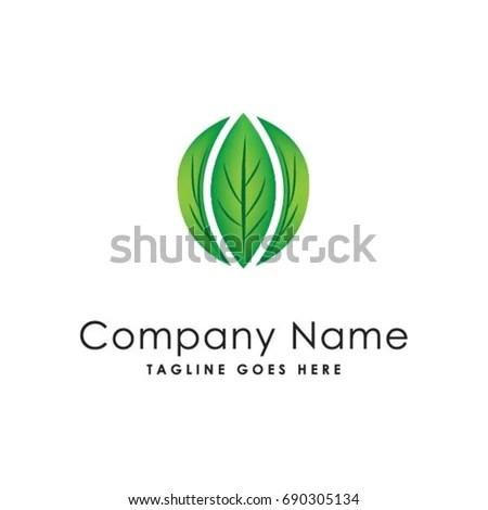 Circle Green Leaf Logo Template Stock Vector 690305134 - Shutterstock
