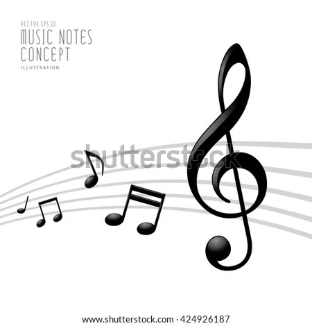 Illustration Vector Music Notes Treble Clef Stock Vector 424926187 - treble clef template