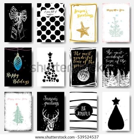 Modern Classic Creative Christmas Cards Black Stock Vector HD - christmas cards black and white