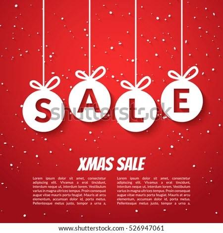 Christmas Balls Sale Poster Template Xmas Stock Illustration