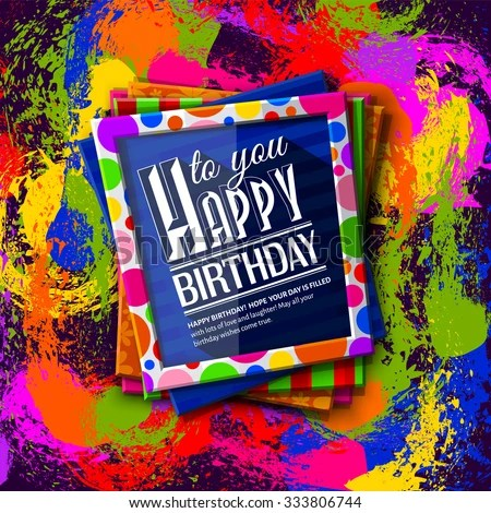 Birthday Card Frames Colorful Textures Wishing Stock Vector (Royalty