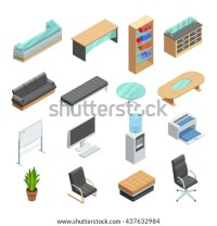 Office Furniture Isometric Icons Collection Desk Stock ...