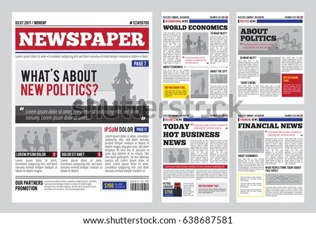 Newspaper Design Template Red Headline Images Stock Photo (Photo - Newspaper Headline Template