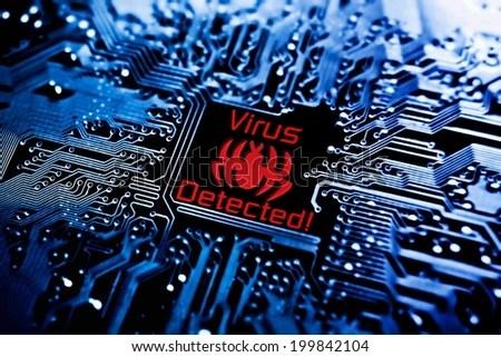 Computer Virus Sign On Circuit Board Stock Illustration 199842104