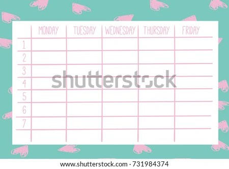 Cute Calendar Weekly Planner Template Organizer Stock Photo (Photo