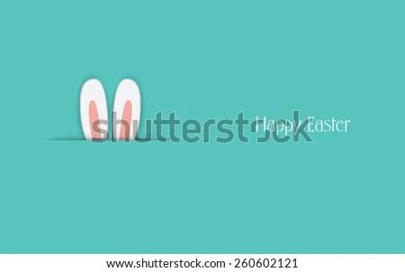 Adorable Happy Easter Postcard Template Bunny Stock Vector (2018