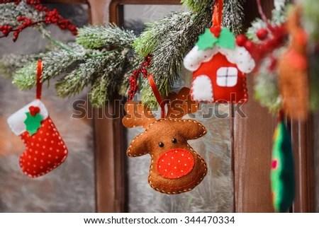 Handmade Christmas Decorations Felt Christmas Moose Stock Photo - felt christmas decorations
