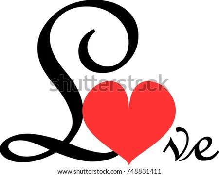 Fancy Calligraphy Word Love Red Heart Stock Vector (2018) 748831411