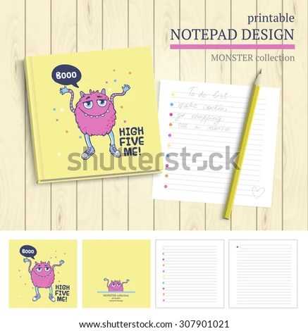 Vector Printable Notepad Design Cover Papers Stock Vector (Royalty