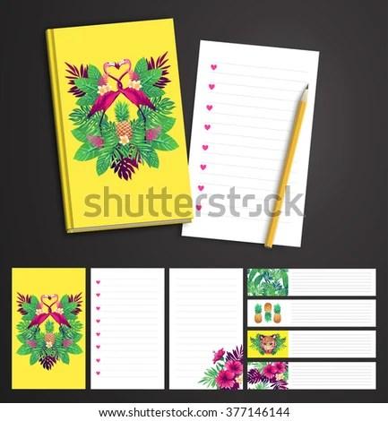 Tropical Set Vector Printable Notepad Design Stock Vector 377146144