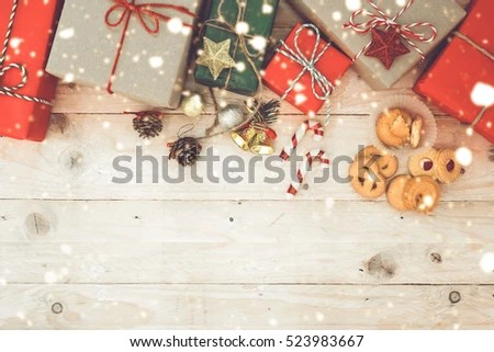 Vintage Christmas Theme Background Handmade Rustic Stock Photo - christmas theme background