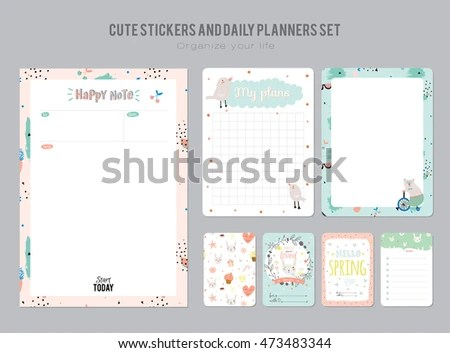 Cute Daily Planner Template Note Paper Stock Vector 473483344 - daily planner sheets